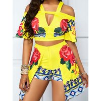 Summer Sexy Club African Yellow Women Two Piece Sets Off Shoulder Tops Falbala Hollow Backless Ethnic Suit Floral Matching Sets