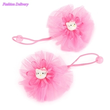 4pcs/lot Fashion Lace Floral Elastic Hair Bands For Children Hello Kitty Ponytail Holder  Hair Ropes Ties Girls Hair Ornaments