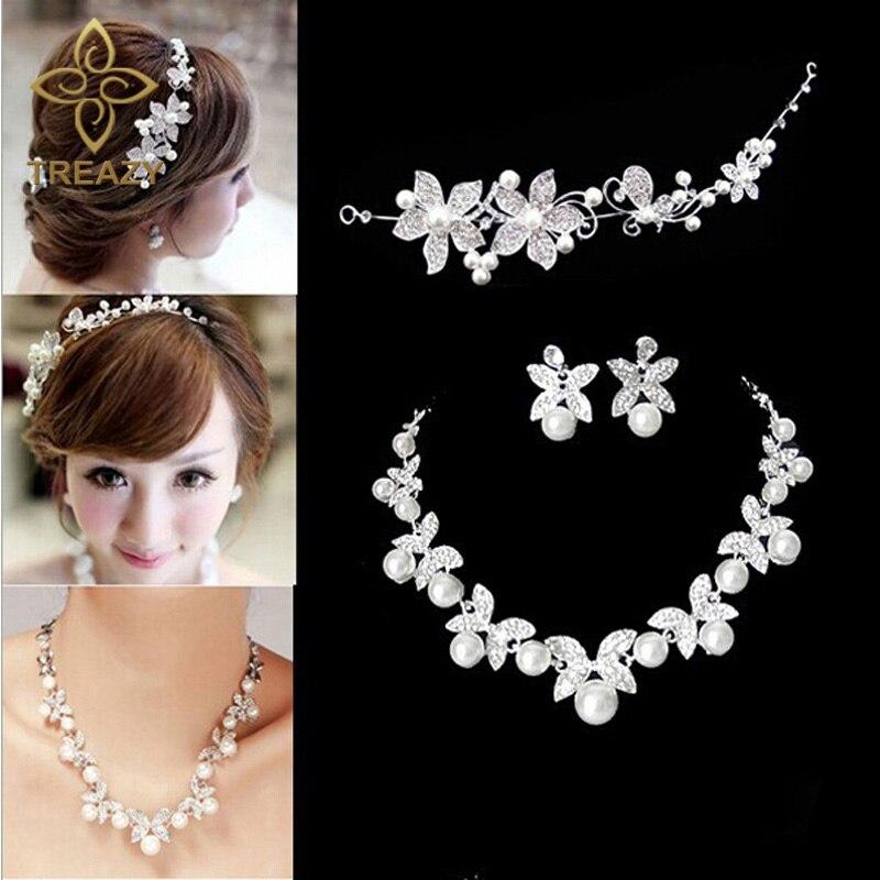 TREAZY Fashion Flower Crystal Pearl Bride 3pcs Set Necklace Earrings Tiara Bridal Wedding Jewelry Set Accessories