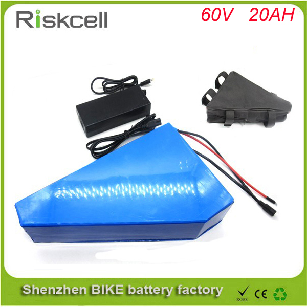 Triangle style  60V 20AH Portable Lithium Battery ,with 2000W BMS Chargrer , E-bike Electric Bicycle Scooter 60V Lithium battery free customs taxes 48v 40ah portable lithium battery with 2000w bms chargrer e bike electric bicycle scooter 48v lithium battery
