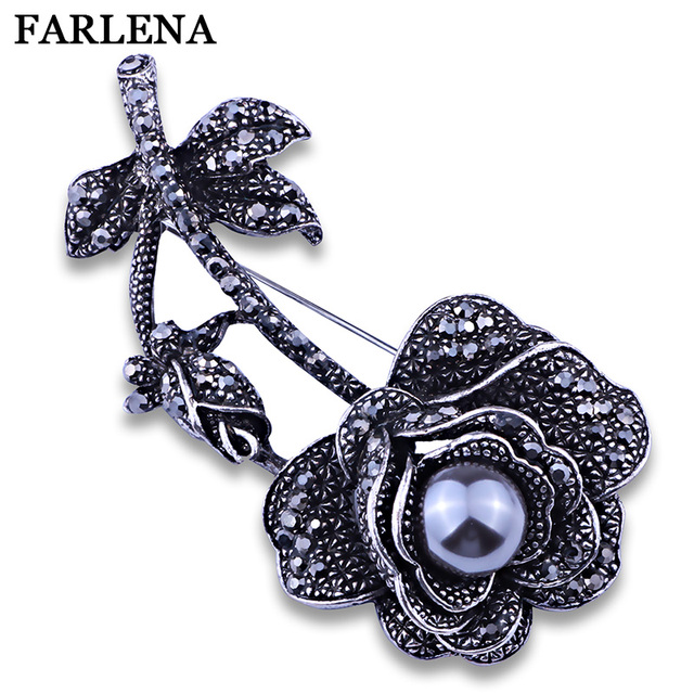cda55cfe8 Imitated Gray Pearl Silver Plated Delicate Roses Flower Sweater Pins and Brooches  Fashion Crystal Rhinestone Brooch for Women