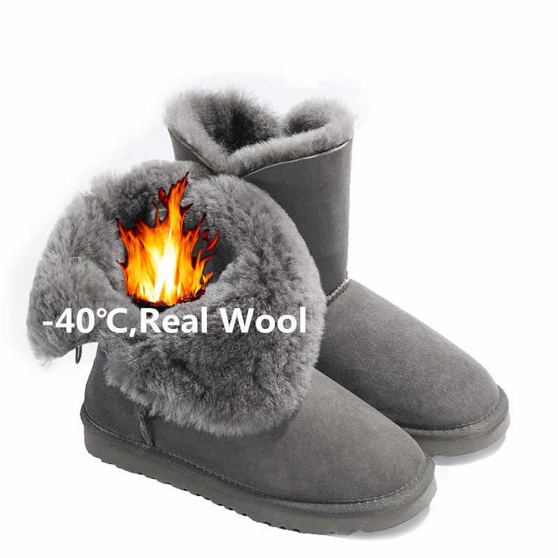 FEDONAS Kadın Inek Süet Orta buzağı Çizmeler Yumuşak Hakiki Deri Sıcak Yün Kürk Kar Botları Kadınlar Için Bayanlar Sonbahar kış Ayakkabı Kadın