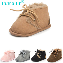 0-18 Month Infant Lace-up Fur Boots Kids Non-slip Sneakers Booties Brand New Baby Boys Girls Soft Soled Toodler Shoes Sapatos