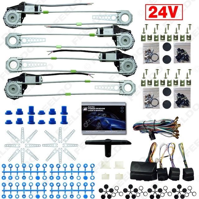 Car/Truck DC24V Universal 4 Doors Electronice Power Window kits With 8pcs Swithces & Harness #FD-2978