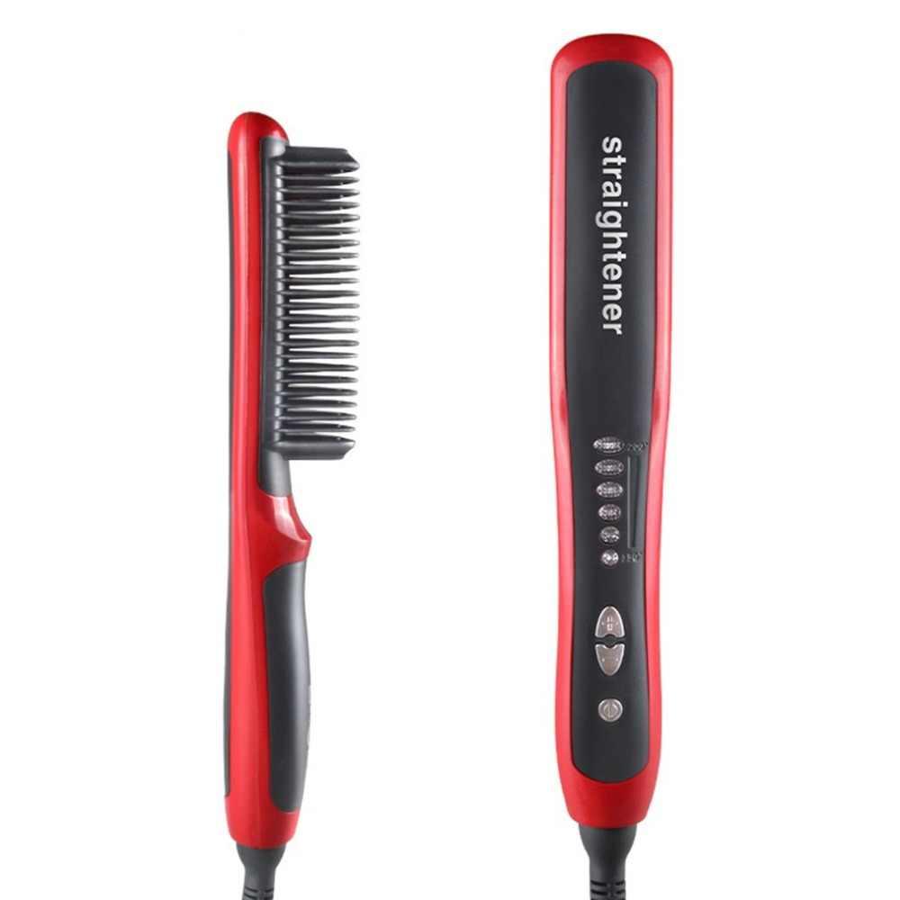 Plancha de pelo Durable eléctrica del pelo recto del cepillo del peine LCD  climatizada de cerámica 438b0ceb264b