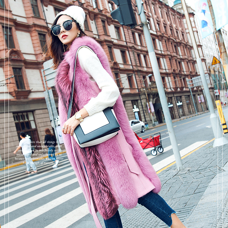 Nouvelle Gilet Conception Réel Fourrure Femmes Longue Manteau Mode Renard 80206d Vêtements Naturel De Élégant Rose Phoenix 7qOAxa07