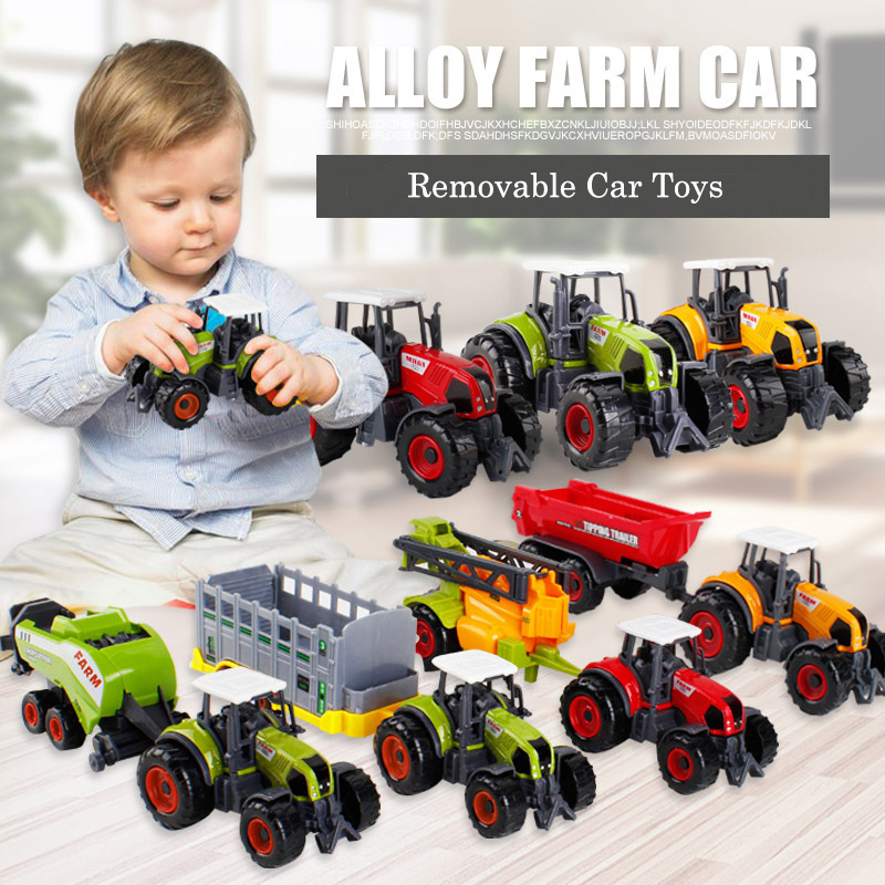 rc truck 4 channel farm tractor plough set paratactic double 5 blade rake remote control farm tractor with plough model toy Mini Alloy Farmer Car Alloy Engineering Car Tractor Toy Model Farm Vehicle Belt Boy Toy Car Model Children'S Day Xmas Gifts