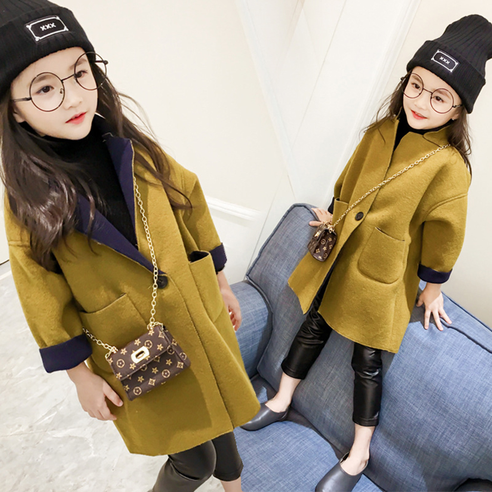 2018 New Fashion Spring Autumn Girls Kids Wool Thin Jacket Coat Outer Clothing Comfortable Baby Girls Clothes Dark Yellow Color