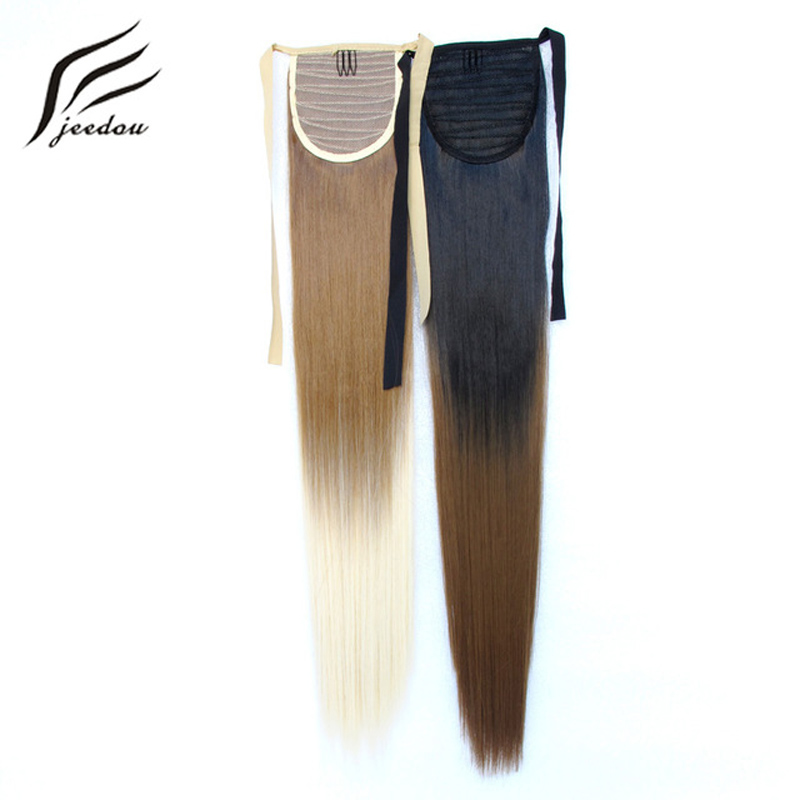 Synthetic Extensions Synthetic Ponytails Humorous Jeedou Synthetic Ponytail Ombre Color Wrap Around Ponytail Straight 22 55cm 105g Black Green Pink Red Purple Hair Extensions