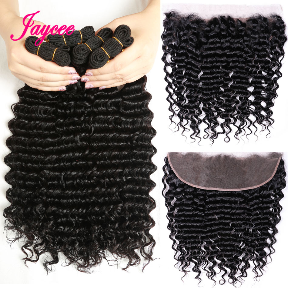 Jaycee Deep Wave Bundles With frontal Non Remy Human Hair Lace Frontal With Bundles Brazilian Hair Weave 3 Bundle With Frontal