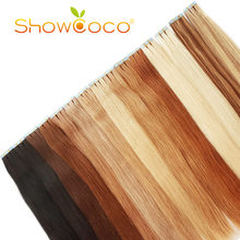 Showcoco Tape Hair Real Human Hair Extension Straight Skin Weft Balayage Straight 16-24 Inch Remy Hair(China)