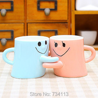 Couple hug Creative Cute Porcelain Cup 1 Pair Smile Cup Emoji Facial Expression Hug Me Mug Valentine's Day Gifts Lovers Present
