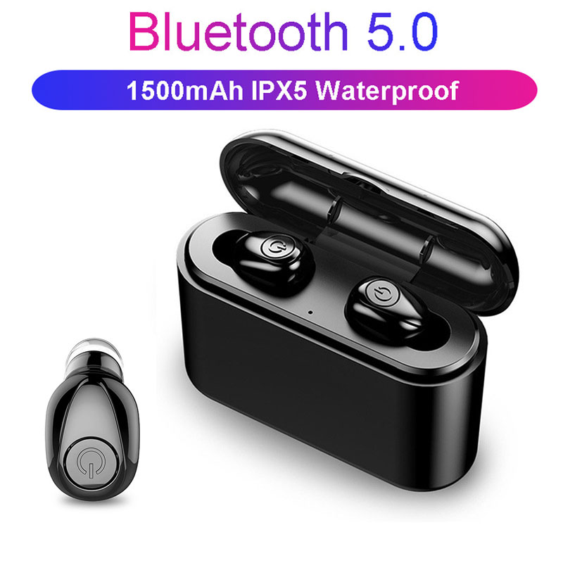 <font><b>X8</b></font> <font><b>TWS</b></font> <font><b>Bluetooth</b></font> <font><b>Earphone</b></font> 5D Stereo Wireless Earbuds headset Mini <font><b>TWS</b></font> Waterproof Headfrees with Charging Box 2200mAh Power Bank image