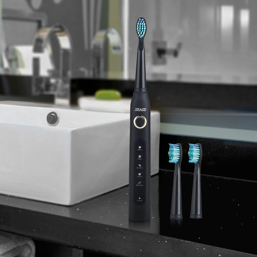 Seago SG-507 Electric Toothbrush Smart Timer Sonic Brush USB Rechargeable Waterproof Tooth Brush for Adult image