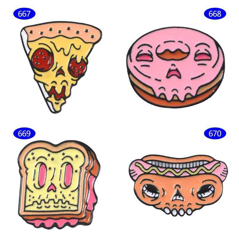 Da Dessert Spilla Sveglio Dello Smalto Del Fumetto Pane Pizza Creativo Ragazze Regali Vestiti di Jeans Distintivo Halloween Fancy Corpetto Spilli Gioielli