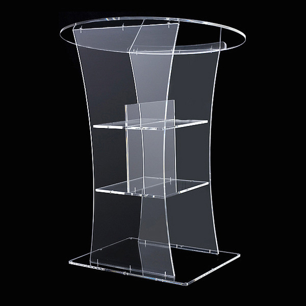 Clear  rostrum led bar speaker pulpit podium table furniture crystal pmma acrylic plexiglass lectern logo customize