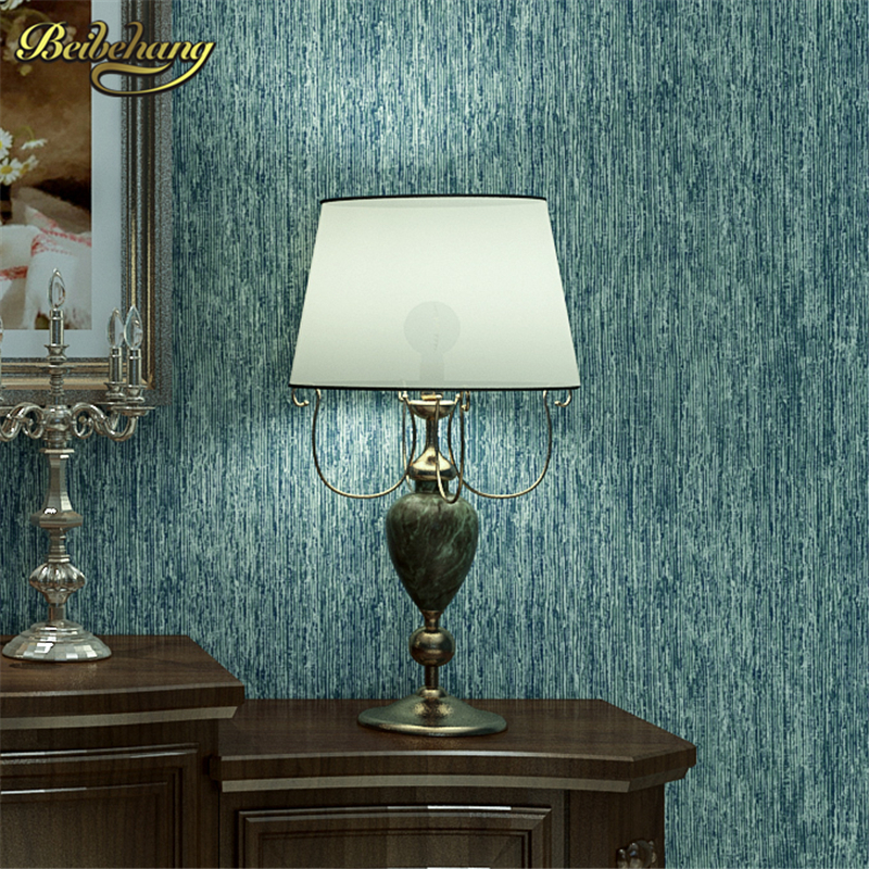 beibehang wall paper Pune blue-green non-woven wallpaper plain solid color green pinstripe wallpaper backdrop living room meal