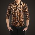 2017 Nova mens boutique moda leopard impressão de algodão Puro lazer longo-sleeved camisa/Homem marca tamanho Grande casuais camisas M-5XL