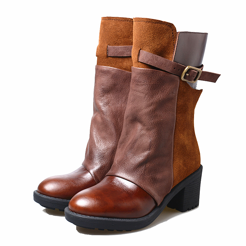 Chaussures Lining Automne Perfetto Botas Femme Mujer Botte vert brown Hiver Cuir Véritable Femmes Lining Marron En Chaussons Prova Bottines Velvet Plate forme Court Caoutchouc green CrexdBoW