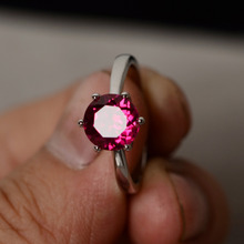 Ring For Women 8 8mm 1CT Round Cut Lab Ruby Ring Sterling 925 Silver font b