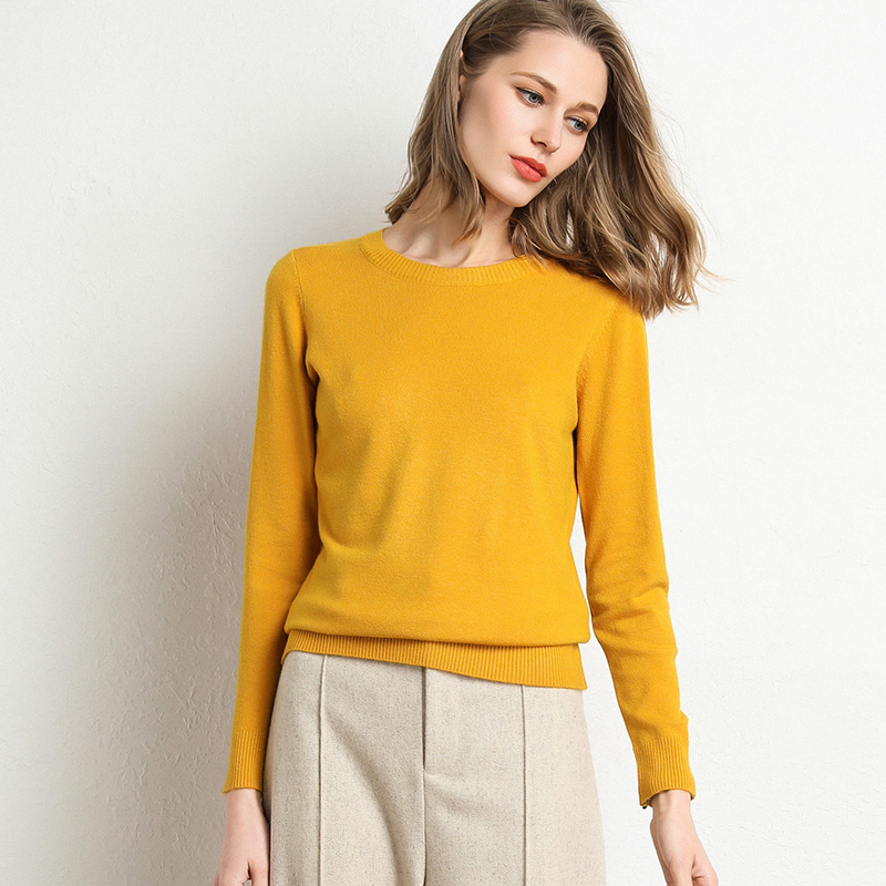 Hot Sale Women Sweater Autumn Winter Clothes Solid Round Neck Sweater Jumper Long-sleeved Knitted Pullovers Shirt Female Tops