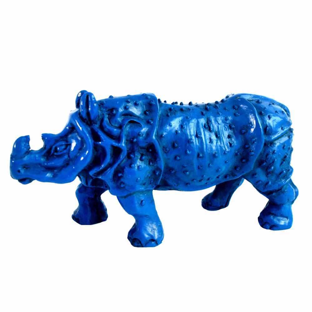 New Arrival  Blue Feng Shui Rhinoceros For Protection Rhino Home Decoration Fashion Gift J2095
