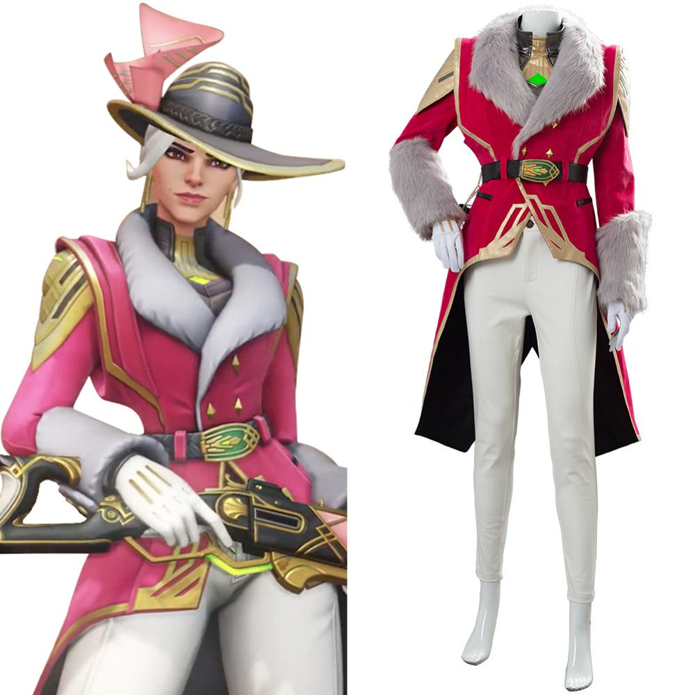 Game OW Ashe Elizabeth Caledonia Socialite Skin Cosplay Costume Unisex Women Uniform Full Set for Halloween Carnival Costumes image