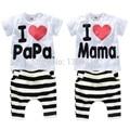Наборы Одежда для новорожденных Я люблю папа мама костюм с коротким рукавом спорт и отдыха костюмы мальчика костюм девочка ребенок пижамы детские свитера