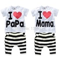 Baby Clothing Sets I love papa mama suit short sleeve sport & leisure suits boy suit baby girl baby pajamas children's sweaters