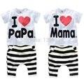 Conjuntos de Roupas Eu amo a papá mamãe bebê manga curta terno do esporte & ternos de lazer menino terno do bebê menina bebê pijamas blusas infantis