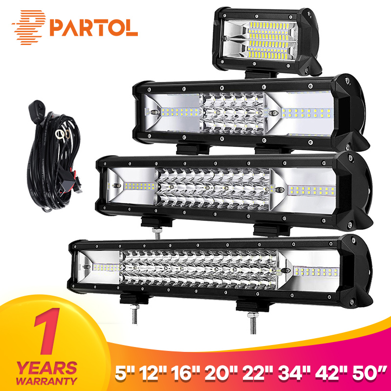 Partol 5 12 16 20 22 34 42 Tri-Row LED Light Bar Combo Beam 6000K LED Bar 4X4 4WD Offroa ...