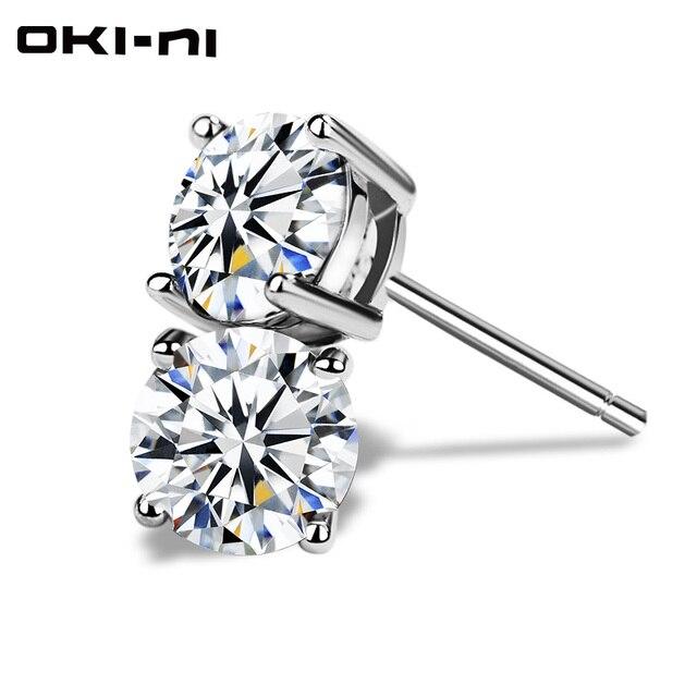 OKI-NI Mini High Quality Small 925 sterling silvery women's Silver Crystal Stud earrings jewelry ear cuff clip for Girls YJM-103
