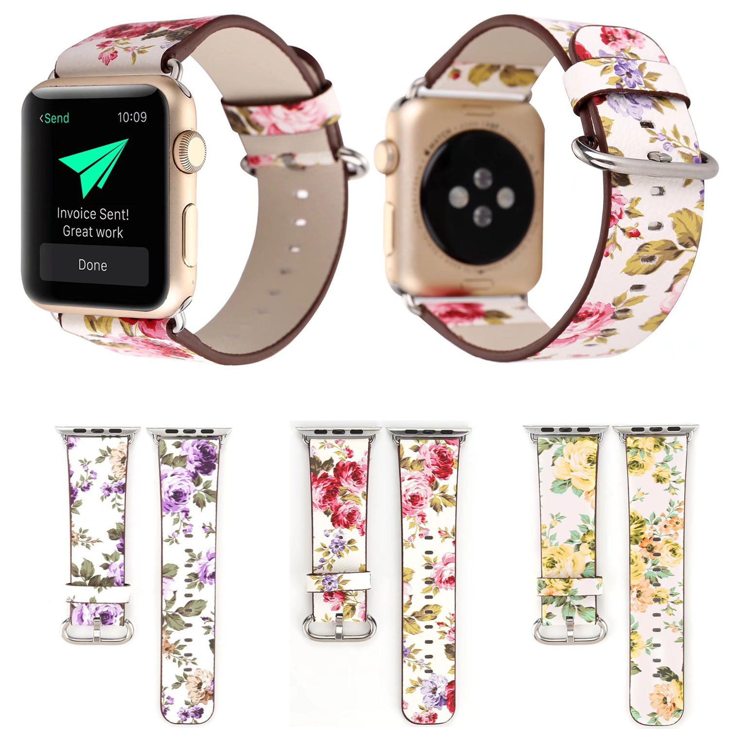 Colorful Flower Leather Band for Apple Watch Series 3 2 1 Strap for iWatch Rural Floral Wristbands Bracelet w Adapters ConnectorColorful Flower Leather Band for Apple Watch Series 3 2 1 Strap for iWatch Rural Floral Wristbands Bracelet w Adapters Connector