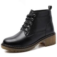 2017 Genuine Leather Ankle Boots Winter Shoes Woman Boots Platform Heels Casual Women Wedges Boots Black Botas Mujer Dr Martins