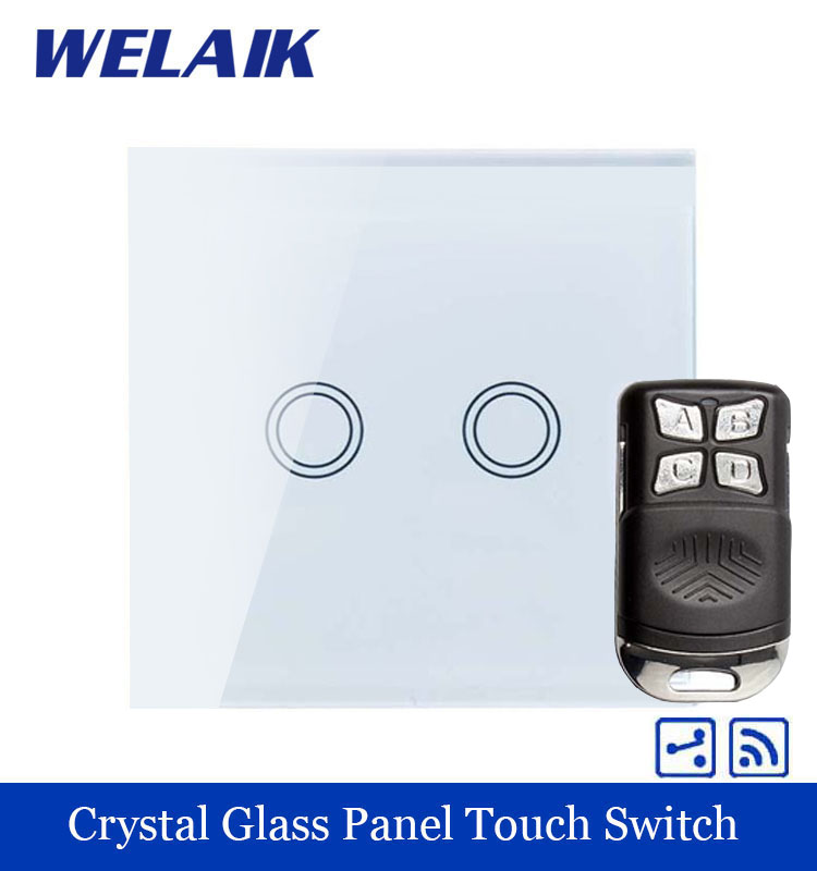 WELAIK Glass Panel Switch White Wall Switch EU remote control Touch Switch  Light Switch 2gang2way AC110~250V A1924XW/BR01 smart home eu touch switch wireless remote control wall touch switch 3 gang 1 way white crystal glass panel waterproof power