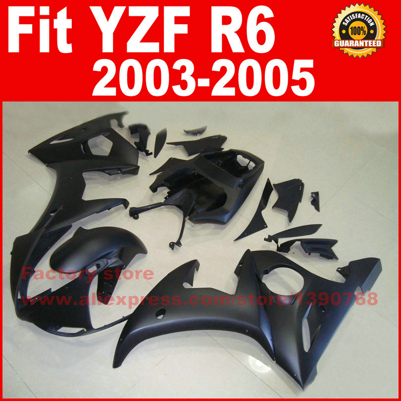 Road/racing ABS motorcycle fairings kit for YAMAHA R6 2003 2004 2005 YZF R6 03 04 05 matte black fairing kits auldey 88010 abs racing car kit