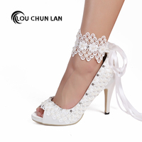 LOUCHUNLAN Women Pumps Shoes Peep Toe white Lace Riband Crystal Ankle Strap Open Toe Silk Stain Wedding Shoes Party High Heels