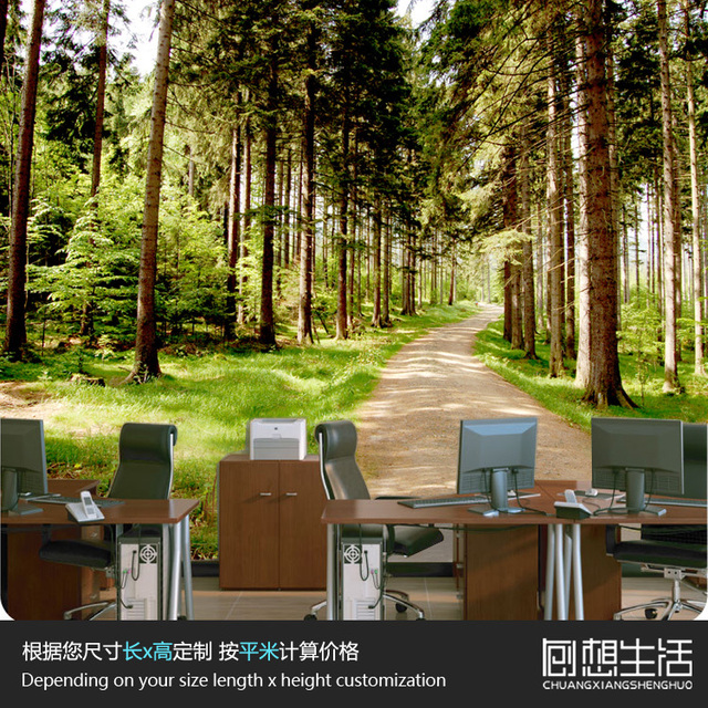 Aliexpresscom Buy Mural Natural forest tree scenic mural room