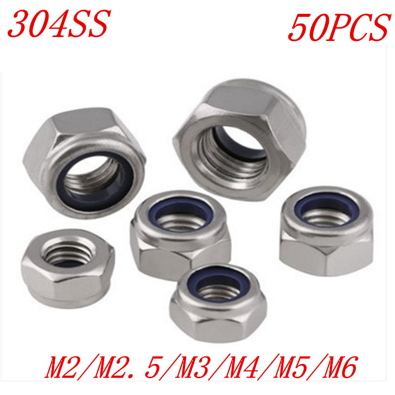 RuiLing 150pcs 304 Stainless Steel Lock Nut Assortment Kit for Hardware Accessories Nylon Insert Hex Lock Nuts Self Locking Nut M3 M4 M5 M6 M8 M10