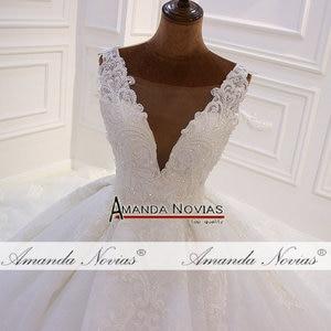 Image 4 - אמנדה Novias מותג למעלה איכות סדר מותאם אישית חתונת שמלת העבודה האמיתית תמונה 2020