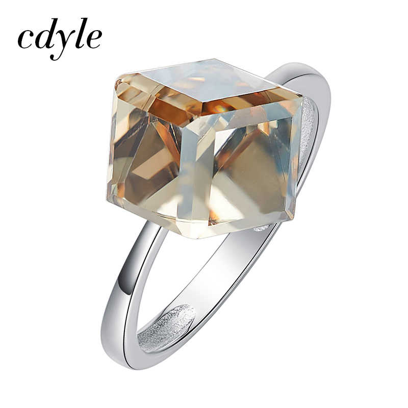 a606cff24 Cdyle Crystals from Swarovski Luxury Ring Austrian Rhinestone Fashion  Romantic Anniversary Cube Shape Engagement Women Jewelry