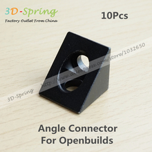 10Pcs 3D Printer Black Angle corner connector Triangular For Openbuilds Aluminum Piece Blast Oxidation