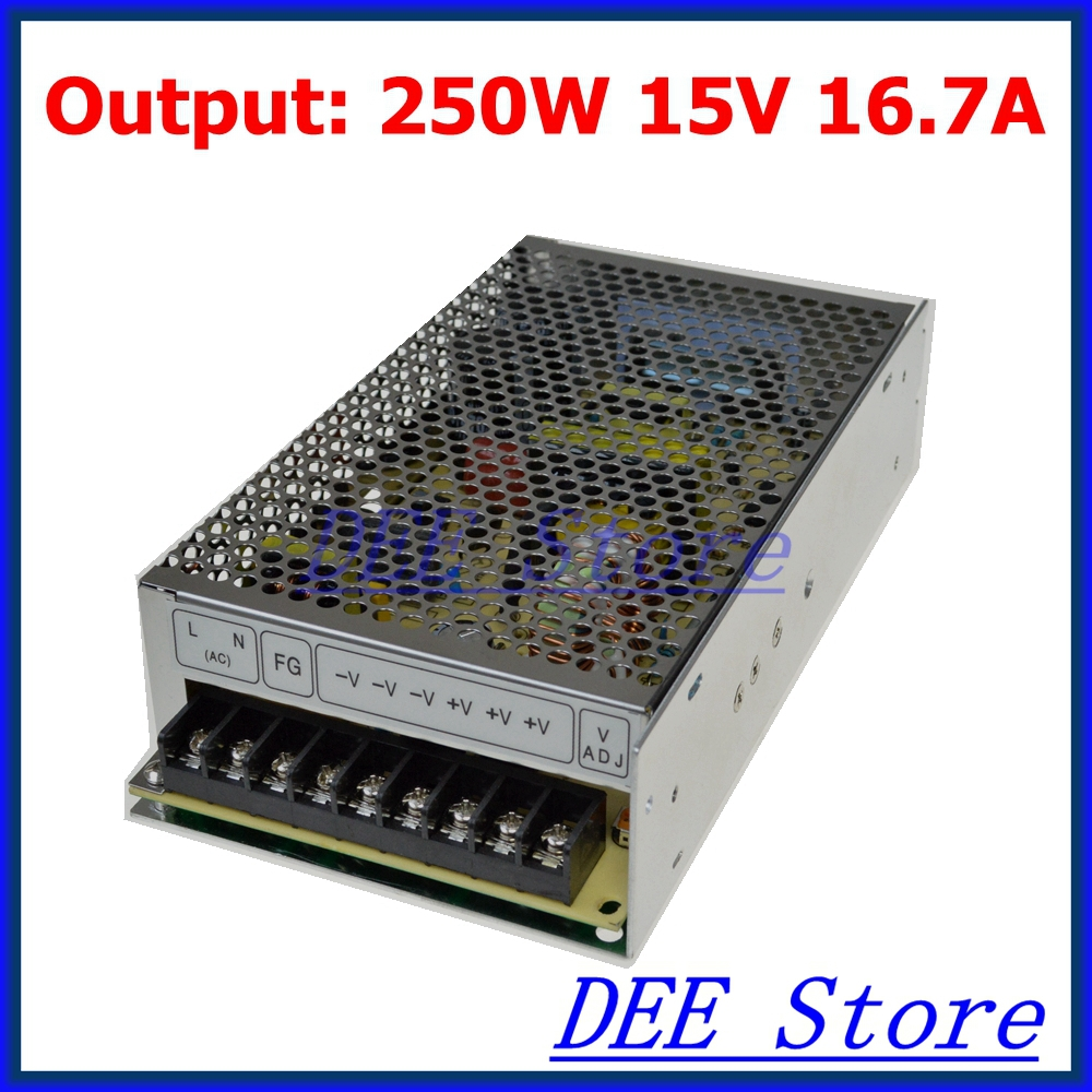 Small Volume Led driver 250W 15V 17A Single Output  Adjustable Switching power supply for LED Strip light  AC-DC Converter