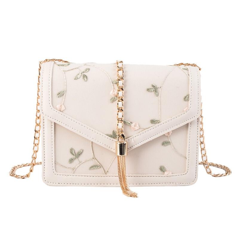 Female Crossbody Embroidery Bag Women 2019 Quality Leather Luxury Handbag Designer Sac Main Ladies Tassel Shoulder Messenger Bag in Shoulder Bags from Luggage Bags