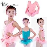 Children Long Sleeve Ballet Tutu Kids Pink Tank Camisole Training Practicing Ballet Tutu Dress Girls CT2036