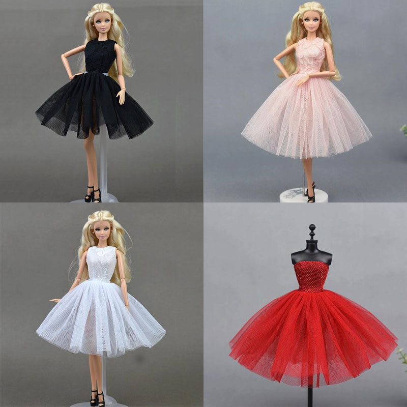 CXZYKING New Clothes For Barbie Fashion Lady Black White Handmade Party Dresses Outfit for Barbie Doll