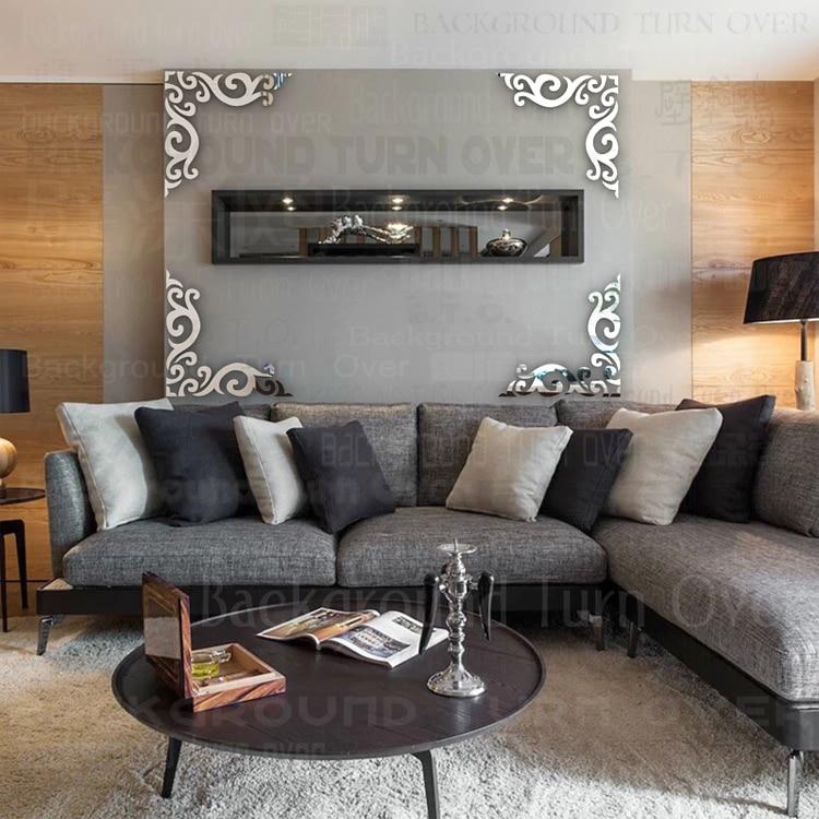 New Design Vintage Diagonal Frame Pattern Tv Backdrop Mirror Wall
