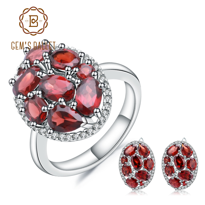 GEM'S BALLET Oval Natural Red Garnet Trendy Earrings Ring Set 925 Sterling Silver Gemstone Jewelry Sets For Women Gift