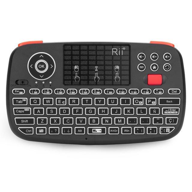 Rii i4 ספרדית מיני מקלדת Bluetooth 2.4G הכפול מצבי כף יד שחיף עם תאורה אחורית עכבר Touchpad שלט רחוק עבור מחשב אנדרואיד