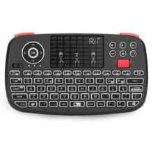 Rii i4 Spanish Mini Keyboard Bluetooth 2.4G Dual Modes Handheld Fingerboard Backlit Mouse Touchpad Remote Control for PC Android